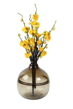 Big Round Heavy Glass Transparent Brown Vase