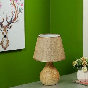 Wooden Finish Bottle Style Ceramic Table Lamp