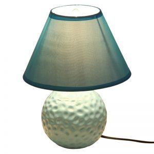 Round Textured Turquoise Blue Ceramic Table Lamp