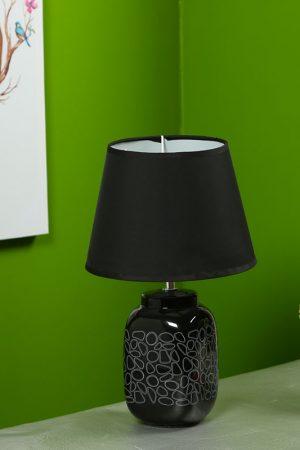 Geomatrical White Print on Black Ceramic Table Lamp