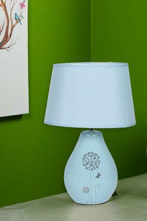 Nature Inspired Printed Blue Ceramic Table Lamp