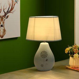 Nature Inspired Printed Grey Ceramic Table Lamp