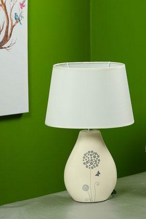Nature Inspired Printed White Ceramic Table Lamp