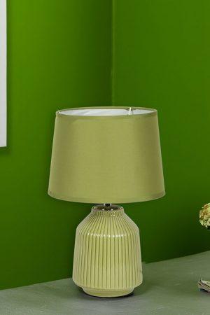 Linear Striped Glazed Ceramic Green Table Lamp