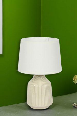 Linear Striped Glazed Ceramic White Table Lamp