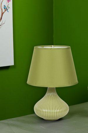 Curvy Linear Striped Green Ceramic Table Lamp
