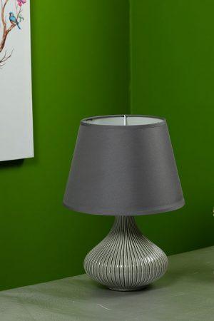 Curvy Linear Striped Grey Ceramic Table Lamp