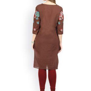 Women Brown Embroidered Straight Kurta