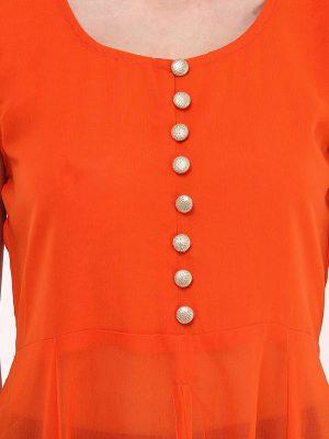 Women Orange Anarkali Kurta
