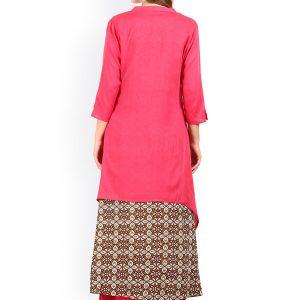 Women Pink Printed Layered A-Line Kurta