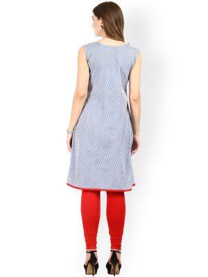 Women Blue Printed A Line Kurta