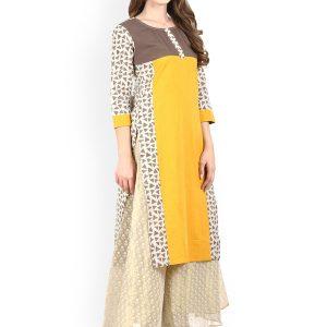 Women Yellow & Beige Printed Straight Kurta