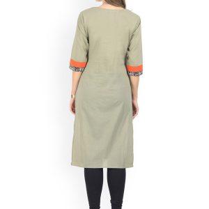 Women Orange & Taupe Colourblocked Straight Kurta