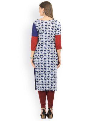 Women Blue & White Printed Straight Kurta