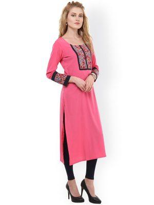 Women Pink Yoke Design Crepe Straight Kurta