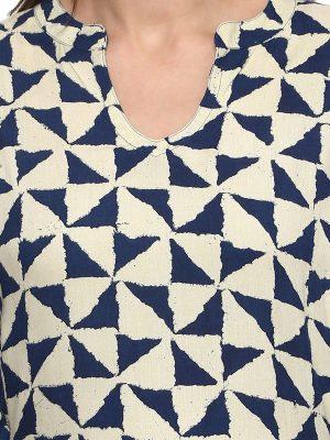 Women Blue & Beige Printed A-Line Kurta