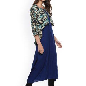 Women Blue Printed A-Line Kurta with Layered Shrug