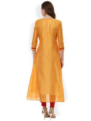 Women Yellow Solid Straight Kurta
