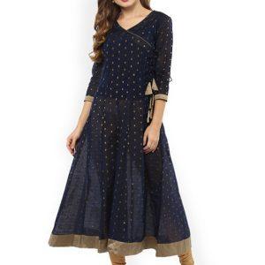Women Navy Blue & Gold-Toned Printed Anarkali Kurta