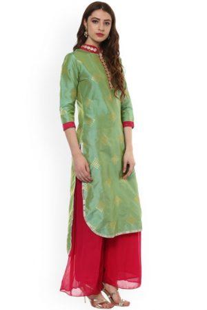 Women Green Embellished Straight Kurta