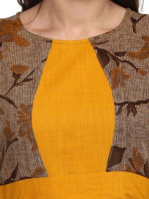Women Brown Panelled Printed Anarkali Kurta