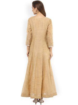 Women Beige Woven Design Anarkali Kurta