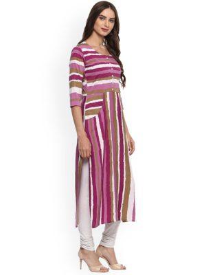 Women Pink & White Striped Straight Kurta