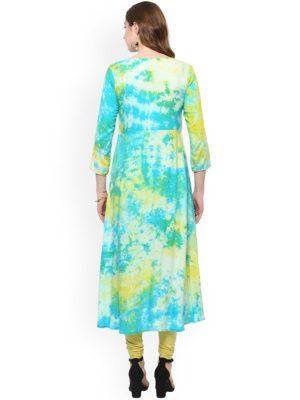 Women Green & Blue Printed Straight Kurta