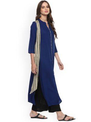 Women Blue Solid Kurta with Layered Striped Shrug-Like Detail