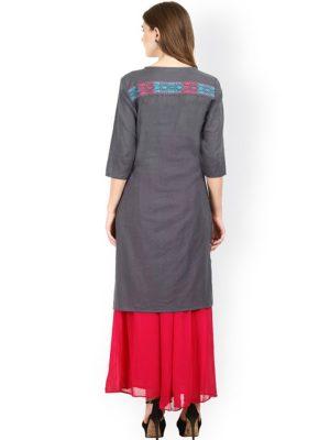 Women Grey Embroidered Straight Kurta