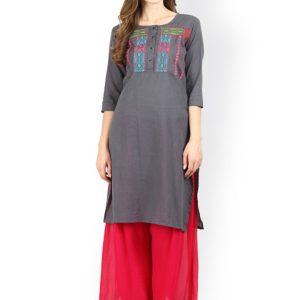 Women Grey Embroidered Straight Kurta
