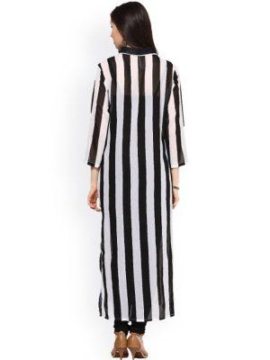 Black & White Striped Kurta