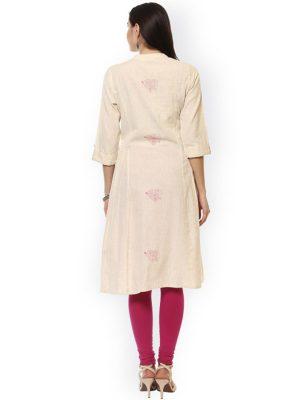 Women Cream-Colored Printed A-Line Kurta