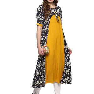Yellow Floral Cotton Round Neck Kurti