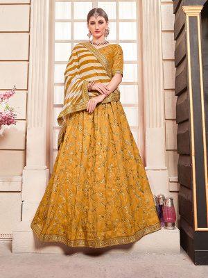Canary Yellow Phantom Silk Bridesmaid Party Wear Lehenga Choli With Dupatta