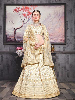 Pearl White Phantom Silk Bridal Wedding Wear Lehenga Choli With Dupatta