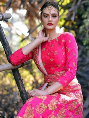 Magenta Pink Silk Bridal Wedding Wear Lehenga Choli With Dupatta