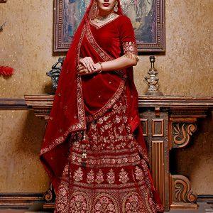 Maroon Velvet Bridal Wedding Wear Lehenga Choli With Dupatta