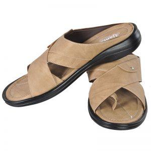 Men's Black & Beige Colour Synthetic Leather Sandals