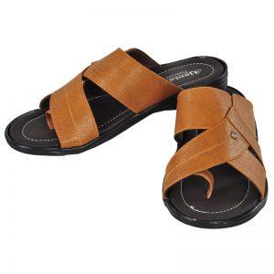 Men's Black & Tan Colour Synthetic Leather Sandals