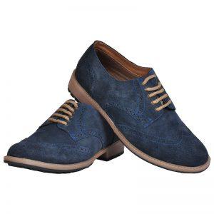 Men's Navy Blue Colour Suede Leather Derby Shoes