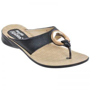 Women's Beige & Black Colour Synthetic Leather Sandals