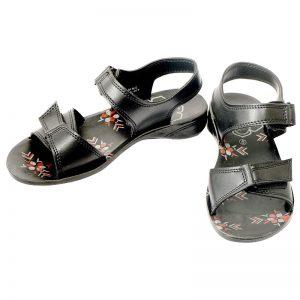 Women's Black Colour PU Sandals