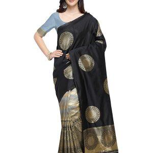 Black Colour Designer Banarasi Art Silk Angari Saree