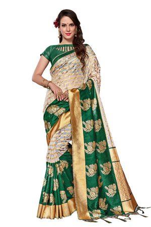 Green Colour Designer Organza Silk Adaaran Saree