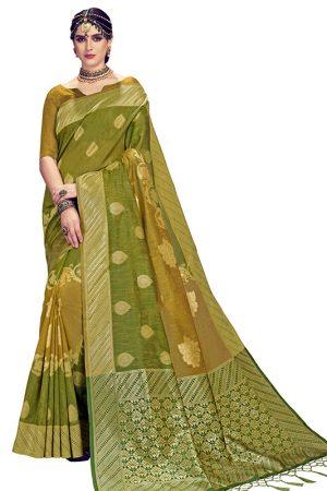 Mahendi Colour Designer Linen Silk Anumol Saree
