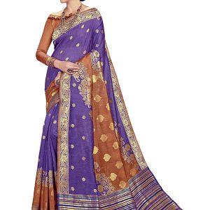 Violet & Brown Colour Designer Linen Silk Anumol Saree