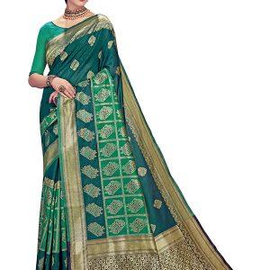 Navy Green Colour Designer Linen Silk Anumol Saree