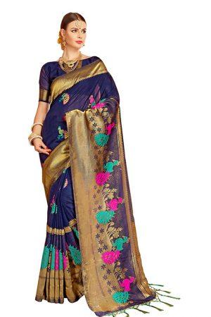 Navy Blue Colour Designer Nylon Silk Bageecha Saree