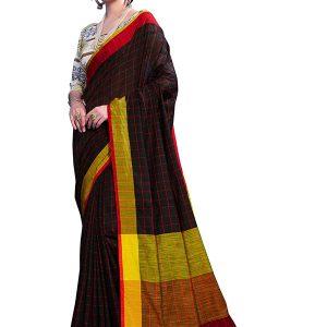 Black Colour Designer Linen Checkmate Saree
